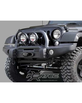 AEV Premium Front Bumper with Center Hoop in Textured Black for 07-18 Jeep Wrangler JK & JK Unlimited - 10305055AD