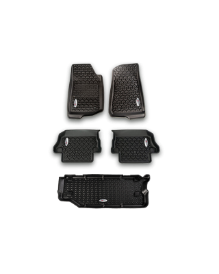 FORTEC Custom Molded Floor Liner Kit - Front, Rear & Cargo by RUGGED RIDGE for 18-19 Jeep Wrangler JL Unlimited 4-Door - 12988.05