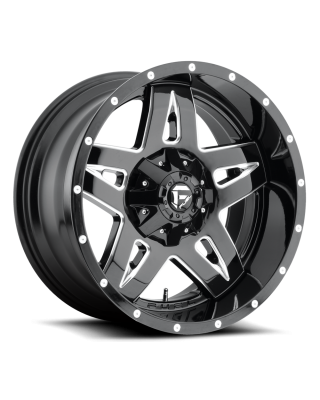 "FUEL D554 ""FULL BLOWN"" Wheel 17x9 Gloss Black & Milled for 07-up Jeep Wrangler JK, JL & JT Gladiator - D55417902645"