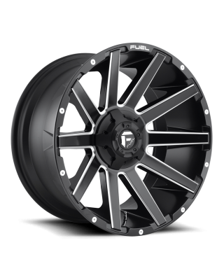 "FUEL D616 ""CONTRA"" Wheel 22x10 in Satin Black & Milled for 07-up Jeep Wrangler JK, JL & JT Gladiator - D61622002647"