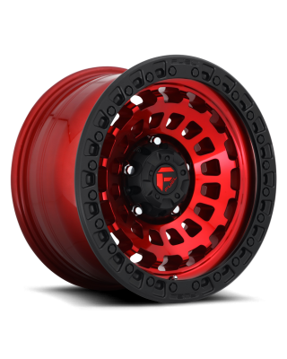 "FUEL D632 ""ZEPHYR"" Wheel 17x9 in Candy Red with Black Lip for 07-up Jeep Wrangler JK, JL & JT Gladiator - D63217907550"