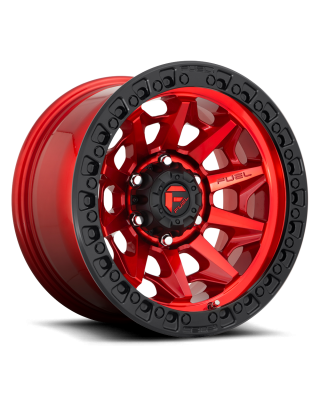 """FUEL D695 """"COVERT"""" Wheel 17x9 in Candy Red with Black Ring for 07-up Jeep Wrangler JK, JL & JT Gladiator - D69517907550"""