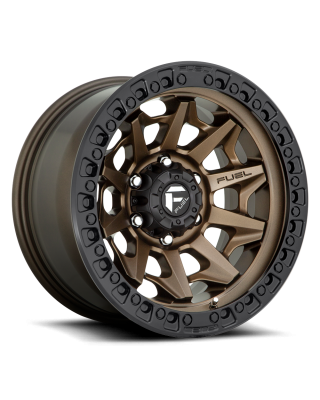 "FUEL D696 ""COVERT"" Wheel 17x9 in Satin Bronze with Black Ring for 07-up Jeep Wrangler JK, JL & JT Gladiator - D69617907545"