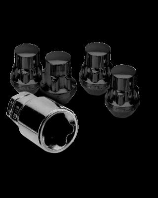 """WHITE KNIGHT 4 Piece Wheel Lock Kit in Black 1/2"""" for 76-18 Jeep CJ, Wrangler YJ, TJ & JK"""
