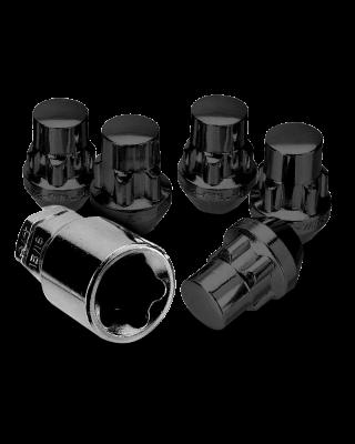 """WHITE KNIGHT 5 Piece Wheel Lock Kit in Black 1/2"""" for 76-18 Jeep CJ, Wrangler YJ, TJ & JK"""